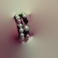 Double Leather Wrap Bracelet with Pearls and Pearl Button Closure 12 1/4 Inches Made to Order Teen Gift Idea
