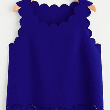 Scallop Edge Laser Cut Shell Blue Top