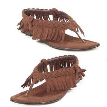 Women's Gladiator Flat Sandal With Fringe (8,Brown)