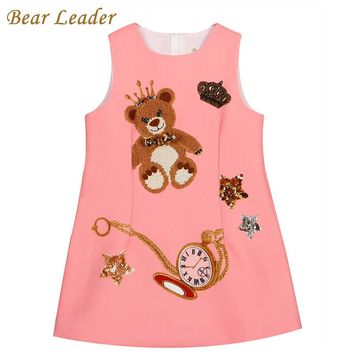 Bear Leader Girls  Sleeveless Pink Little Bear Pattern Print for Kids Dress
