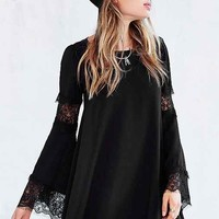 For Love & Lemons Ribbed Festival Dress- Black