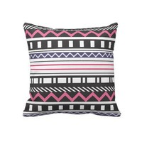 Geometric & Chevron Black and Pink Pillow from Zazzle.com