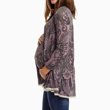 Purple-Printed-Crochet-Trim-Maternity-Top