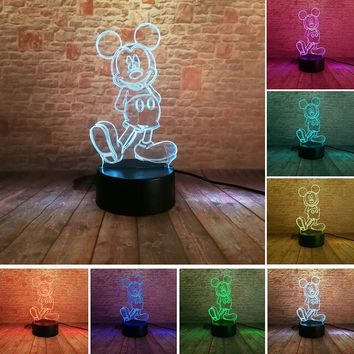 Luminous Mickey Model 3D Illusion LED Nightlight Colorful Flashing Light Mickey Mouse Cartoon Figure Toys for Children Party