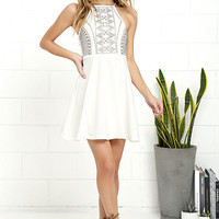 Bring the Bling Ivory Studded Skater Dress
