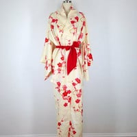 Vintage Kimono / Pastel Yellow Satin Brocade / Red Brocade Cherry Blossom Floral Print / Long Robe / 1960s