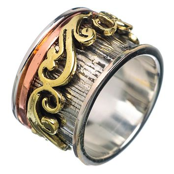 Spinner Ring - Scrolled Three Tone