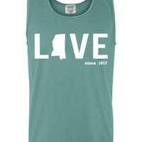 Custom Mississippi Love Comfort Color Tank Top. Show Your state pride and state love. Perfect for the Summer and the Beach