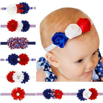 American Flag Headband Red White Blue Headbands Usa Hair Band Bandeau July 4th Fashion Accessory Baby Girl Hairbow 1pc Hb534