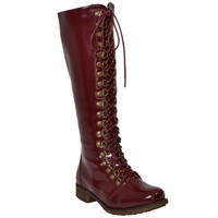 Womens Knee High Boots Lace Up Combat Casual Comfort Shoes Burgundy