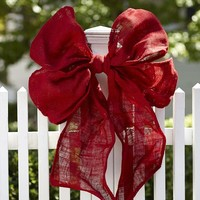Oversized Red Burlap Bow