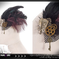 Goth visual Victorian SteamPunk Pheasant feather Fascinator hairclip SP042 BK