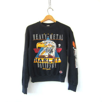Vintage faded black biker sweatshirt. washed out authentic Harley Davidson Motorcycle sweater with Eagle
