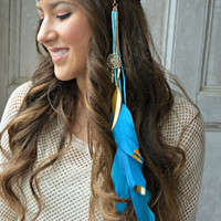Blue Feather headband, Dreamcatcher Feather headband