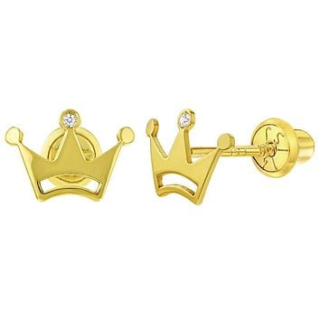 14k Yellow Gold Clear CZ Princess Crown Earrings Screw Back Infant Little Girls