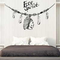 Wall Vinyl Decal Decorating Indians Feather Head Free Spirit Home Decor Unique Gift z4632