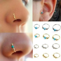 PEAP78W 1xStainless Steel Nose Ring Nostril Hoop Nose Earring Piercing Jewelry Silver  Hand knitted Earrings #30