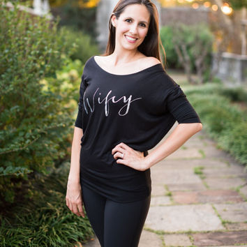 Wifey Shirt, Off the Shoulder Slouchy Sweatshirt, Soft Flowy Dolman, Bride Shirt, Wifey Sweatshirt, Bridal Shower Gift, Engagement Gift