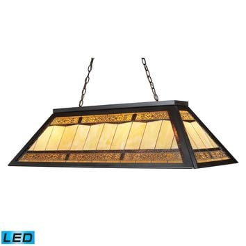 70113-4-LED Filigree 4 Light LED Billiard In Tiffany Bronze With Multicolor Glass Panel Shade - Free Shipping!
