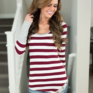 Patches of Burgundy and Gray Striped Top