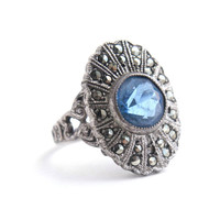 Vintage Sterling Silver Uncas Ring -  Size 4 3/4 Blue Glass Stone & Marcasite Costume Jewelry / Filigree Hearts