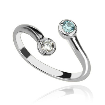 Sterling Silver Dual Drops Birthstone Ring for women
