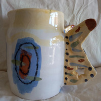 Jug, ceramic, decanter, container, pottery, wings with butterfly shape-Unique decorative pitcher-Water/milk/juice white jug jug hand painted