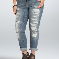 Torrid Premium Boyfriend Jean - Light Wash with Ripped Destruction (Tall)
