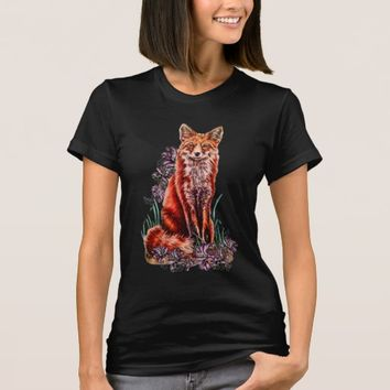 Drawing of Red Fox Animal Art and Lilies T-Shirt