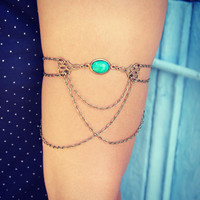 turquoise/green and filigree armlet, upper arm chain, body chain, unique jewelry, turquoise jewelry