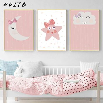 NDITB Cute Smile Cloud Star Canvas Posters Nursery Prints Wall Art Painting Nordic Kids Decoration Pictures Girls Bedroom Decor