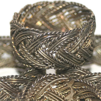 ON SALE Vintage Copper Napkin Rings,Braided Napkin Rings