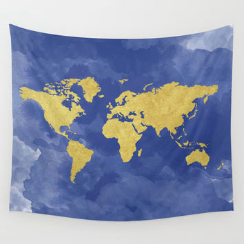 Gold Navy World Map, Elegant, Gold Foil, Nursery, Wall Tapestry by PeachAndGold