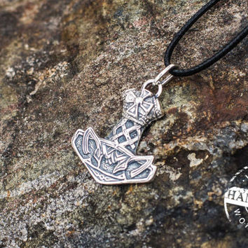 Thor's Hammer Mjolnir Pendant Viking Amulet Sterling Silver Necklace Scandinavian Norse Jewelry (Stylization)