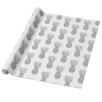 Minimalist Tropical Pineapple Pattern Wrapping Paper