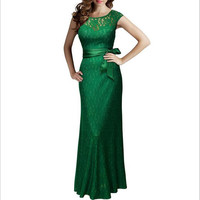 Lace Pinup Mermaid Maxi Dress New Summer Women Sexy Slim Belted Backless Sleeveless Long Party Dresses Plus Size Vestidos