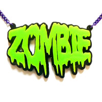 Zombie Necklace Green & Black | Gothic Clothing | Emo clothing | Alternative clothing | Punk clothing - Chaotic Clothing