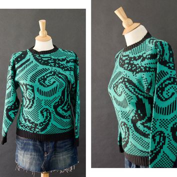 80s Sweater, 80s Ugly Sweater Abstract Pull Over Sweater, Green Black Acrylic Knit Sweater, Alfred Dunner Women's Small Geometric Sweater
