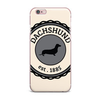 "KESS Original ""Dachshund"" Beige Black iPhone Case"