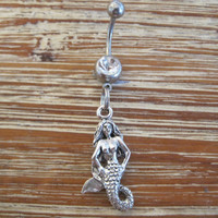 Belly Button Ring - Body Jewelry - Mermaid with Clear Gem Stone Belly Button Ring