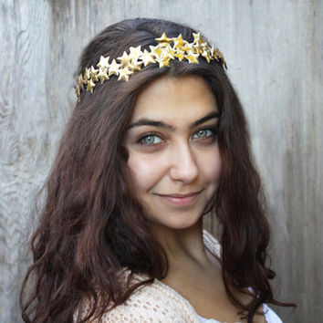 Golden Star Crown - Star Headband, Gold, Star Halo, Star Hair Accessories, Gold Headpiece, Gold Headband, Gold Crown, Star, Circlet
