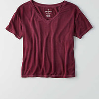 AEO Soft & Sexy Sky High V-Neck T-Shirt , Maroon Lagoon