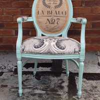 French Louis XVI Armchair Shabby Chic Upholstered Burlap Custom Chalk Paint Annie Sloan Cottage Country Painted decor by Throne Upholstery