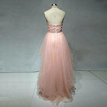 Beauty Halter Hi-Lo Tulle A Line Sequined Prom Dresses Sleeveless Off The Shoulder Beading Floor Length Prom Dress