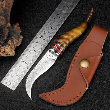 XITUO sheep horn handle Damascus steel knife high hardness sharp Hunting knife Damascus Camping survival knives Free shipping