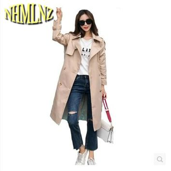 2017 Autumn and Winter New Women Windbreaker Long sleeve Pure Color Double-breasted Suit Collar Women Windbreaker Fashion WUN122