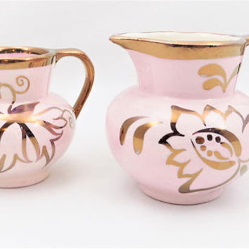 Hanley Lancaster Pitchers, 2 Rose Pink and Painted Copper Gold Pitchers, Small Decorative Pitchers, Made in England
