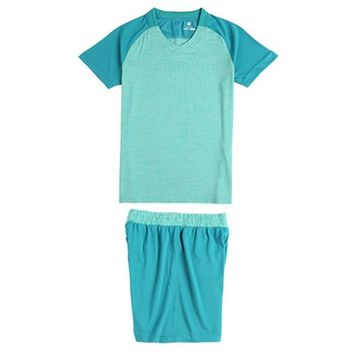 2018 Children Clothing Sets Soccer Jerseys Training uniform Blue Color Short Sleeve Top Sport Shirs Shorts Child Football Kits