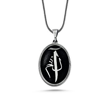 Calligraphy alif lam mim letter monogram pendant 925k sterling silver necklaces with chain