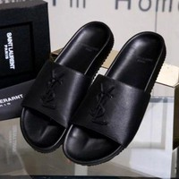 YSL Women Casual Fashion Leather Flats Slipper Shoes